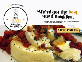 CHARRED OAKS INN'S BEST B&B BREAKFAST TOURNAMENT RECIPE UP FOR VOTE FRIDAY, MARCH 30th
