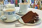 Chocolate Fudge Cake, China Tea Cup & Carraro Coffee