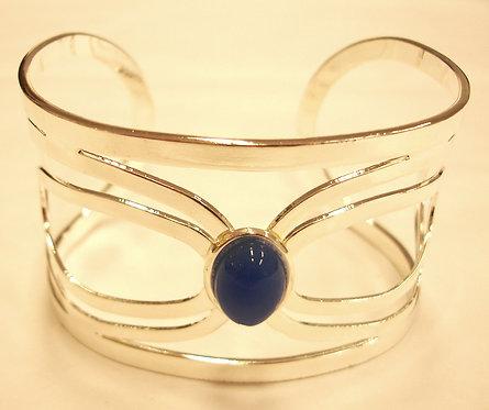 Blue Onyx Charis Silver Bangle