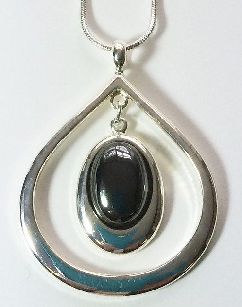 Hematine Damara Silver Pendant & Chain