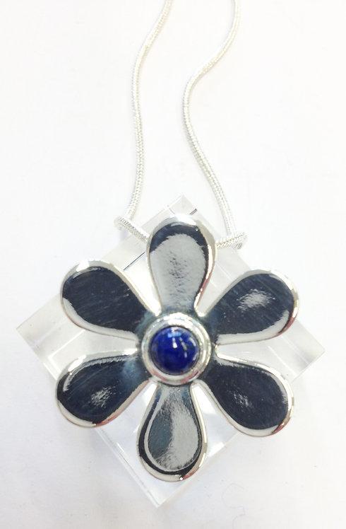 Lapis Lazuli Daisy Silver Pendant & Chain