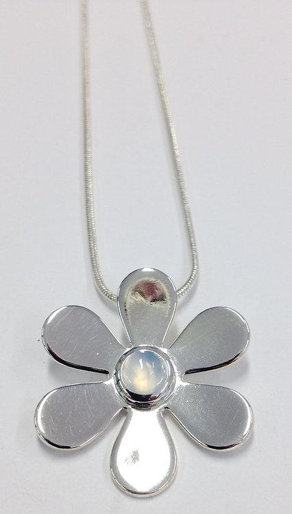 Moonstone Daisy Silver Pendant & Chain