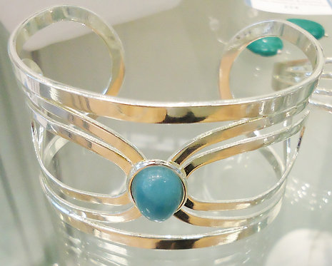 Amazonite Charis Silver Bangle
