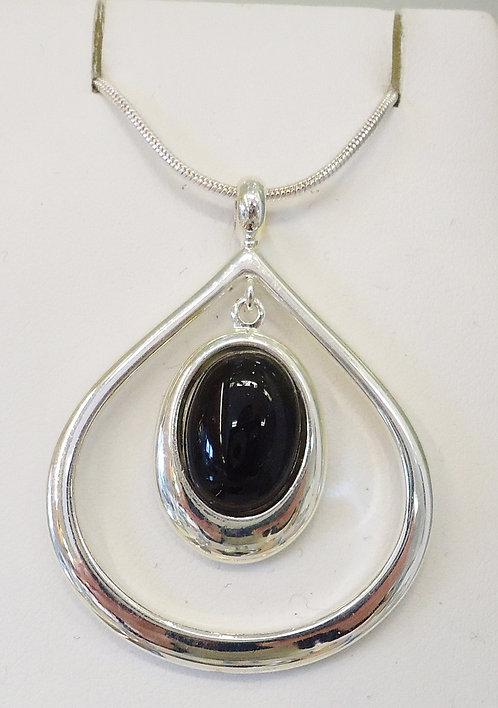 Black Onyx Damara Silver Pendant & Chain
