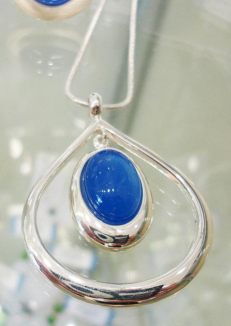 Blue Onyx Damara Silver Pendant & Chain