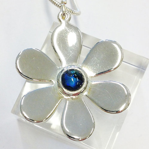 Blue Abalone Daisy Silver Pendant & Chain