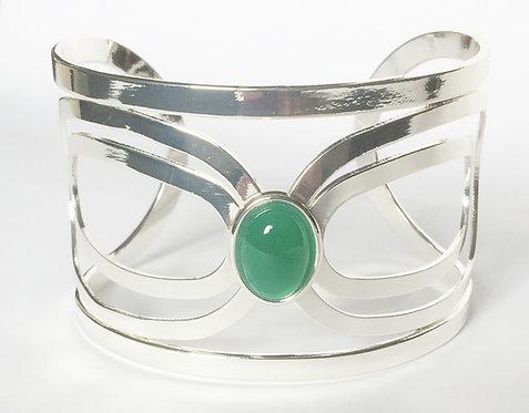 Green Onyx Charis Silver Bangle