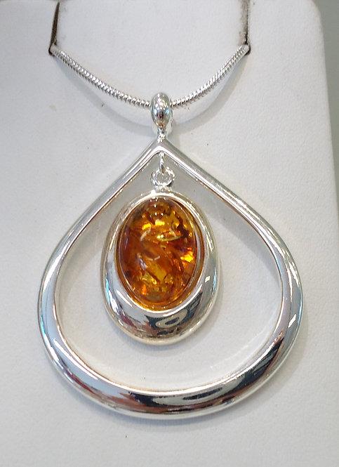 Amber Damara Silver Pendant & Chain