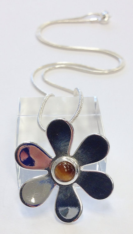 Tiger Eye Daisy Silver Pendant & Chain