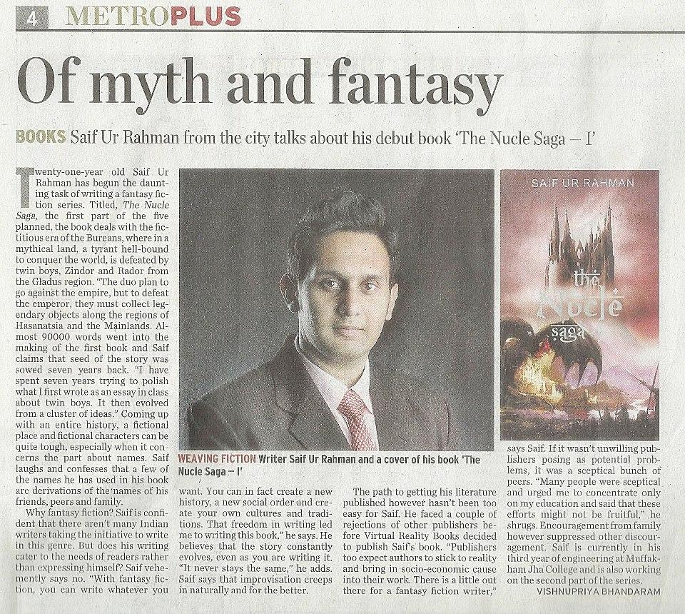 The Hindu Newspaper, Metro Plus (6th November, 2012)