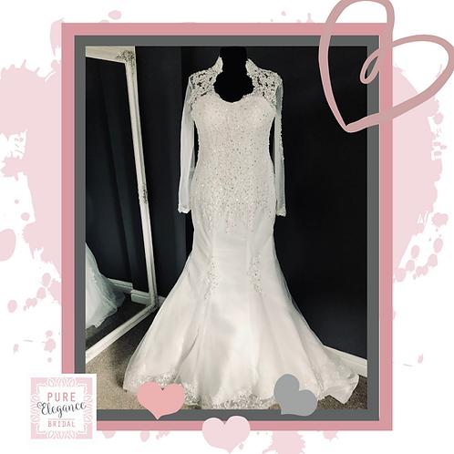 Size 18/20 High Neck, Long Sleeved Wedding Dress