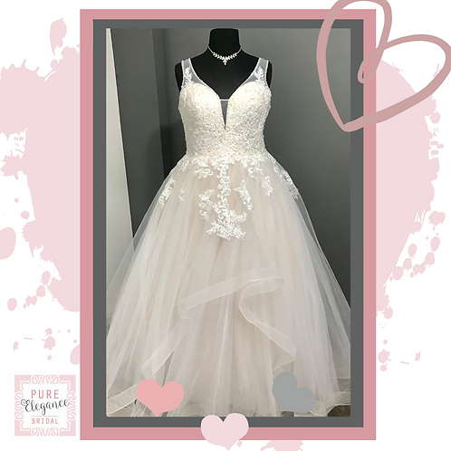 Size 22/24 Champagne & Ivory Ruffle Wedding Dress