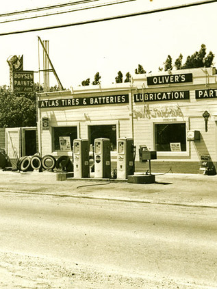 Oliver's Hardware and Gas Station, c. 1949