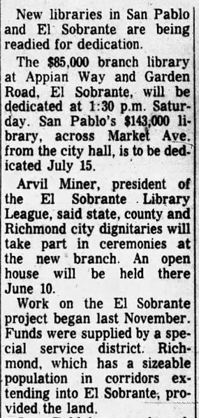 El Sobrante library completed_Oakland Tribune 1 Jun 1961