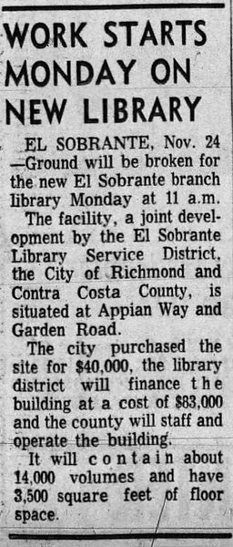 Work starts on El Sobrante Library_Oakland Tribune 24 Nov 1960
