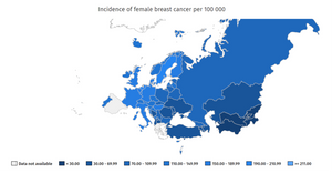 Incidence of female breast cancer per 100,000