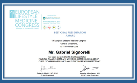 Best Oral Presentation Award - European Lifestyle Medicine Congress 2018
