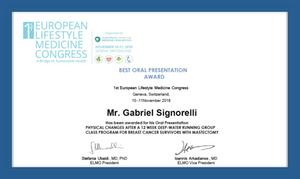 Best oral presentation award certificate of Gabriel