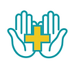 Two blue palms side by side facing up with a yellow medical cross in the middle.