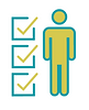 A blue and green icon of a non-gender specific person with three vertically aligned check boxes on the left side of them.