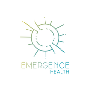 Emergence Health logo with sunburst with irregularly sized rays coming out