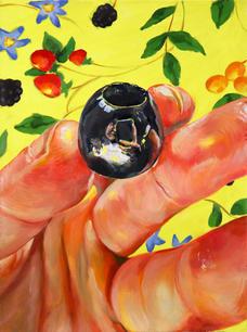 Olive Grump, 2021, Oil on Paper, 15 in x 11 in