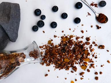 Granola met blauwe bessen