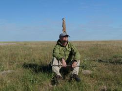 Peter on watch with meerkat