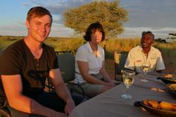 Sundowner in the Kalahari Desert