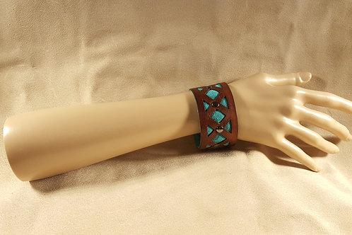 Cyan Blue Inlay Studded Leather Bracelet