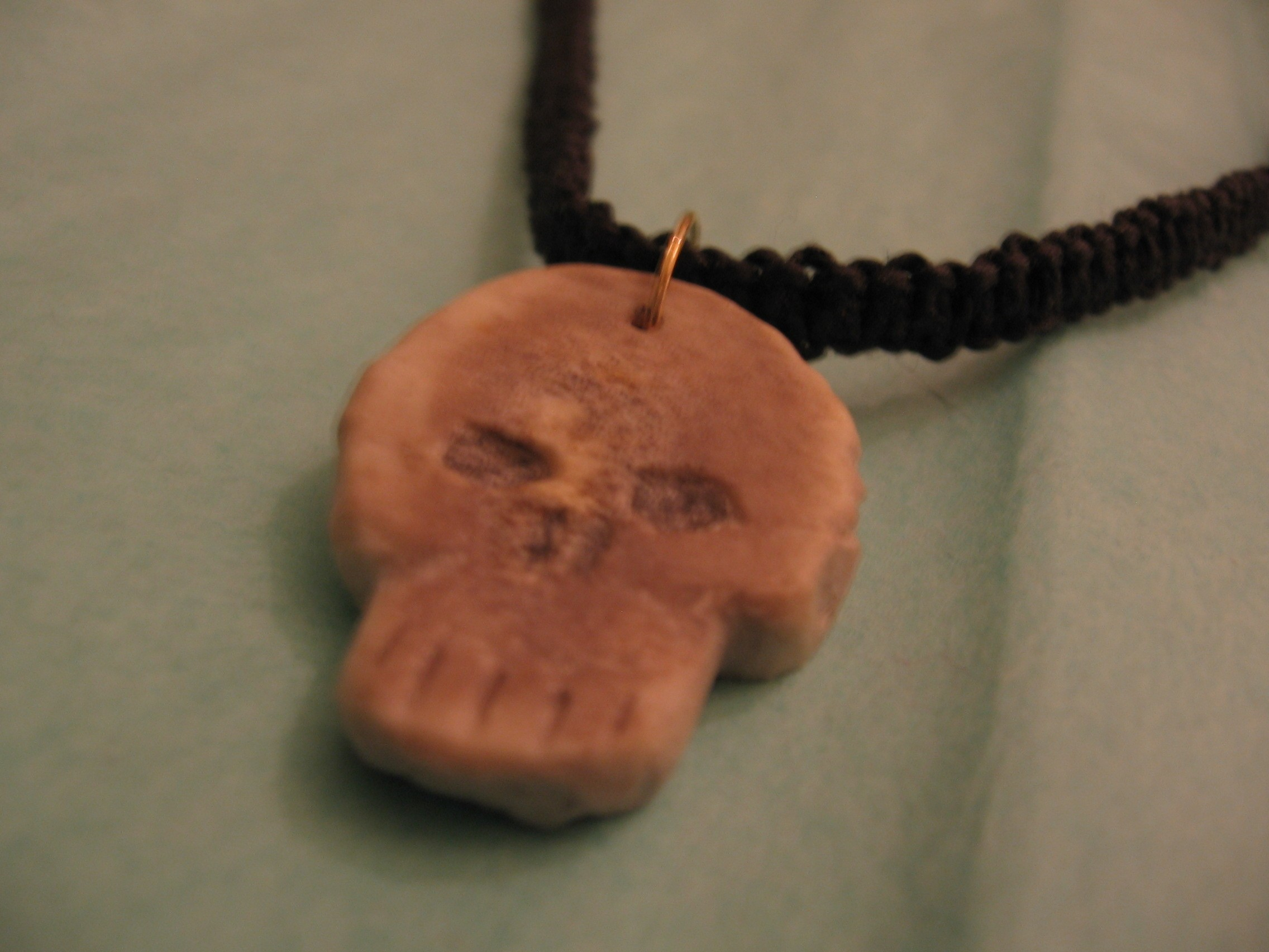 Carved Bone Skull Necklace