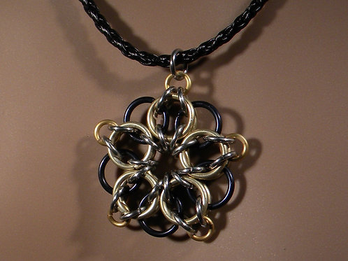 Celtic Star Chainmaille Necklace (Gold on Black)