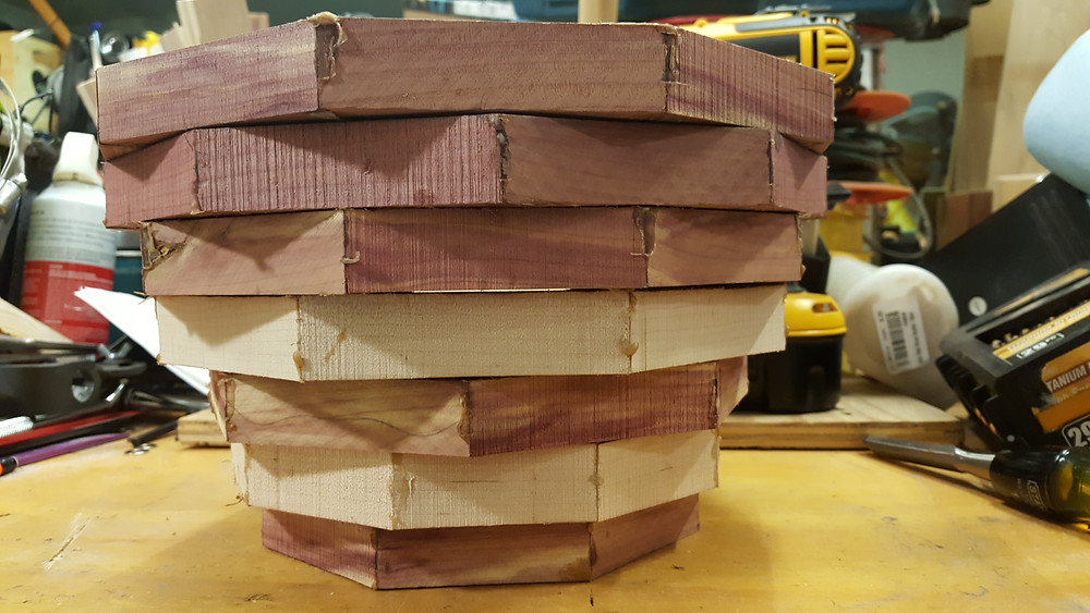 Red Cedar & Pear Segmented Rings Stacked