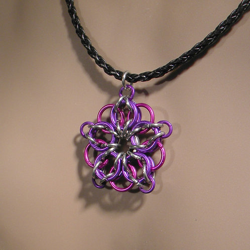 Celtic Star Chainmaille Necklace (Violet on Plum)