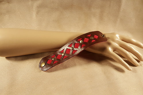 Red Inlay Studded Leather Bracelet