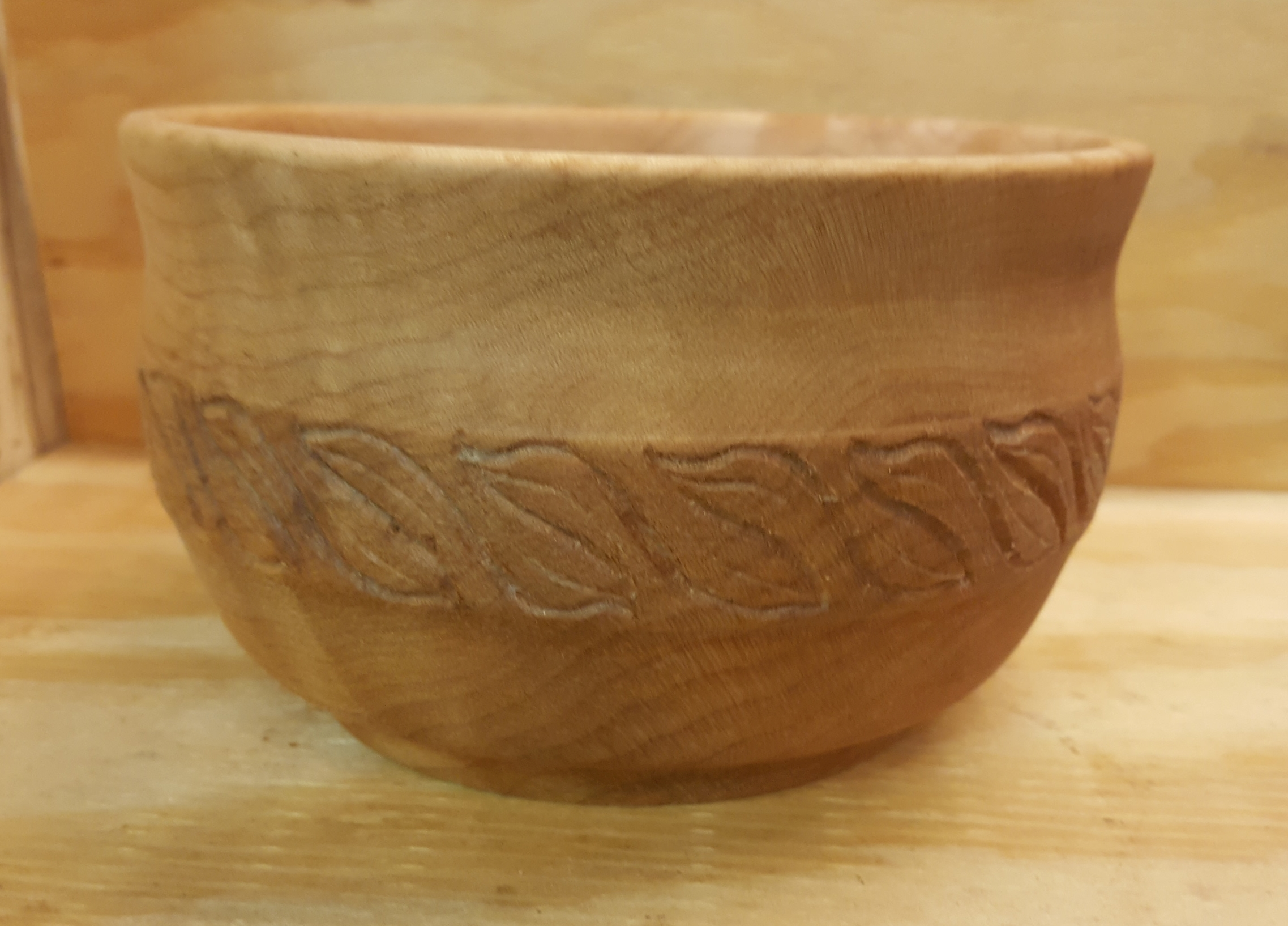 Carved Big Leaf Maple Bowl