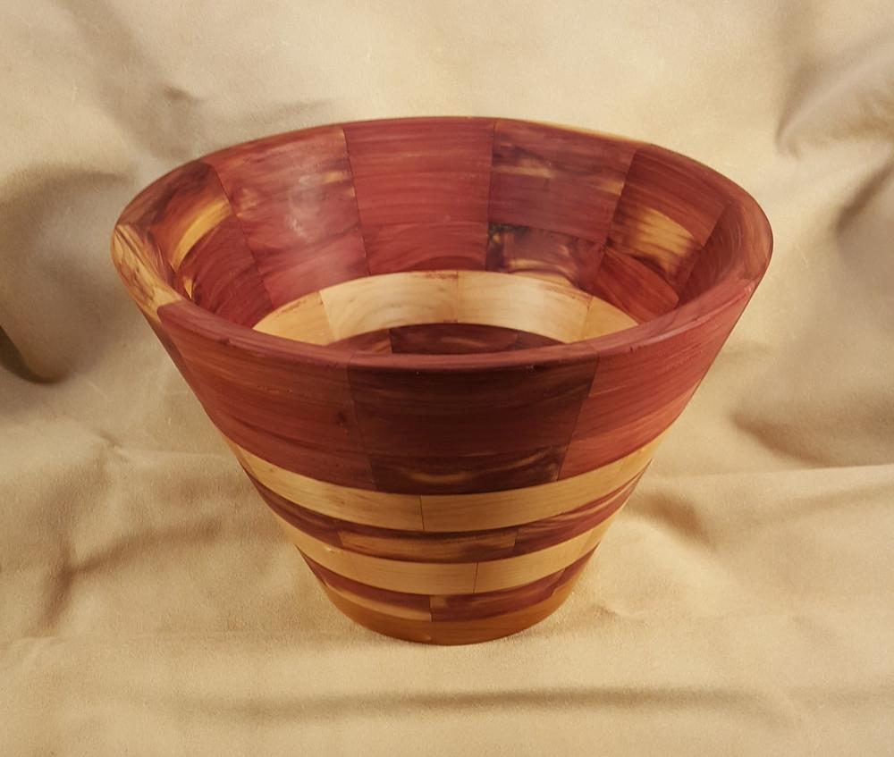 Red Cedar & Pear Wood Segmented Bowl