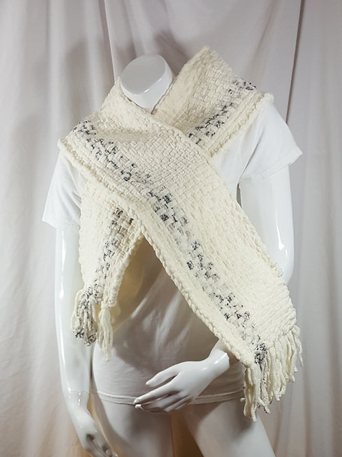 Snow Pebble Stripes - Woven Scarf