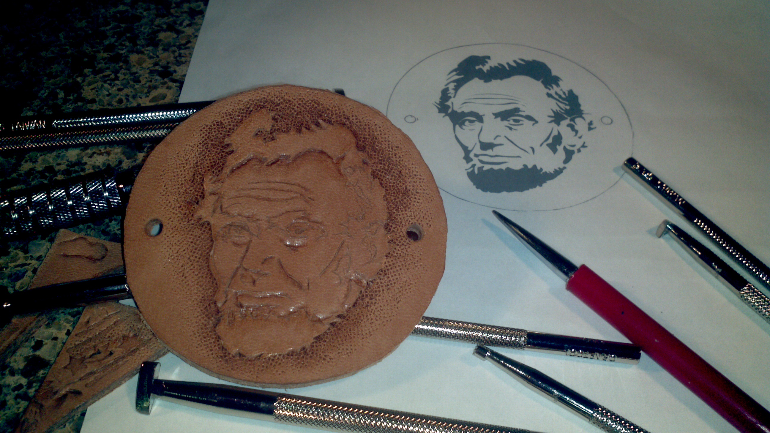 Abe Lincoln Leather Hair Tie