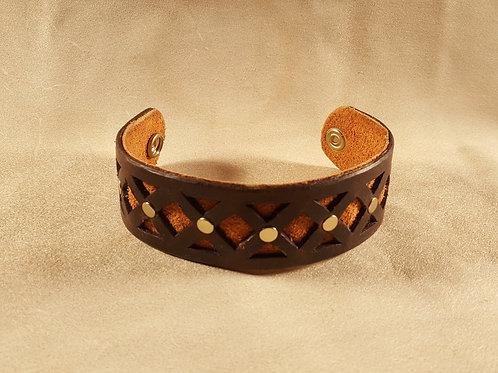 Amber Inlay Studded Leather Bracelet
