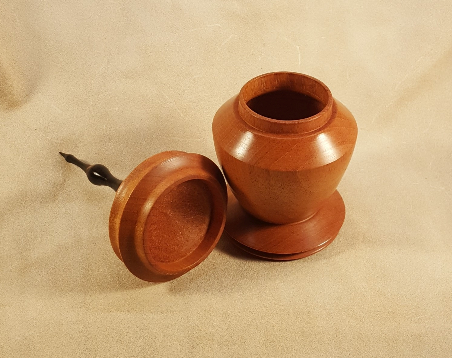 Small Mahogany Urn w/ Ebony Finial