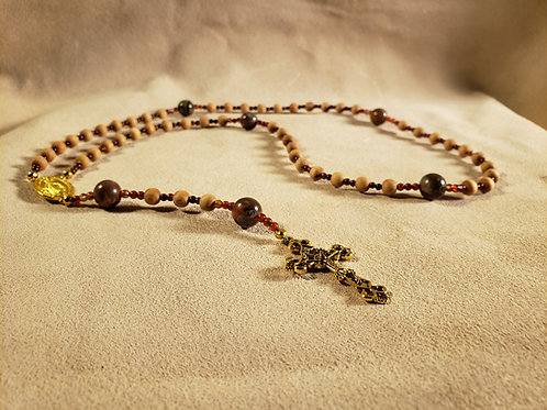 Rosary #3 - Wood and Stone Beads