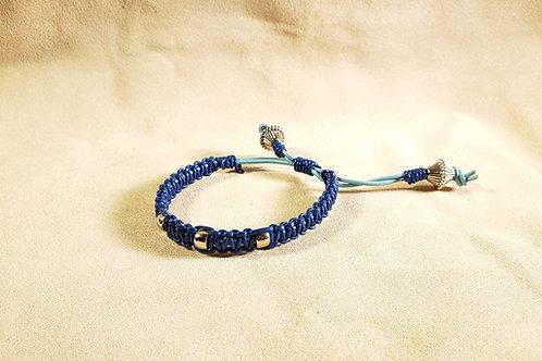 Blue-on-Cyan Beaded Leather Bracelet