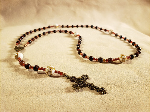 Rosary #1 - Stone Beads - White on Red