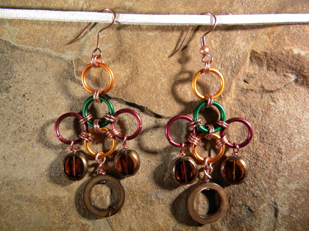 """Autumn Breeze"" Chainmaille Earings"