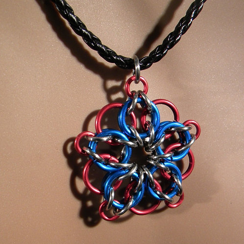 Firework Chainmail Necklace (Blue on Red)