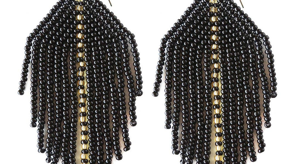 Raya Beaded Earrings Black