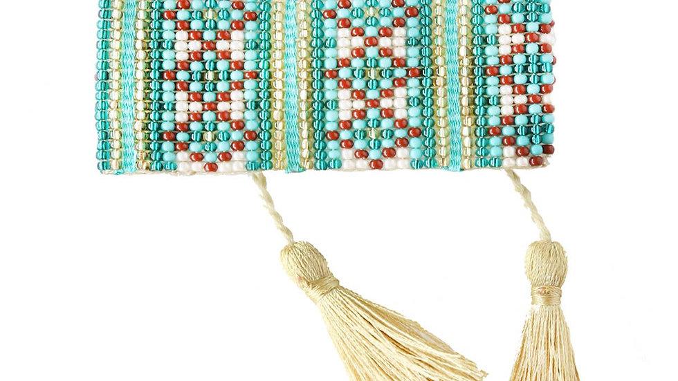 Turquoise Beaded Tassel Bracelet