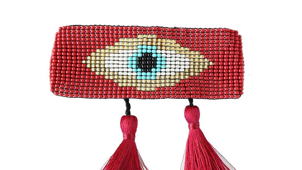 Evil Eye Tassel Bracelet Red