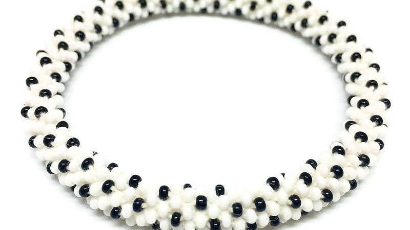 White and Black DottedBracelet